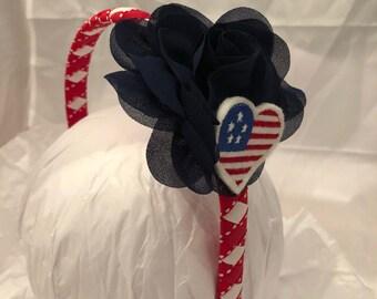 headband- red white blue headband- flower headband- july 4th headband- gift for girl- hair accessory- patriotic headband- American flag