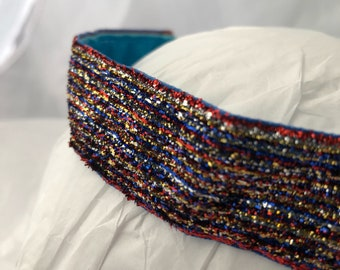 headband- red blue gold- 4th of july- red white blue headband- patriotic- elastic-Independence Day- july 4th- sparkle headband- bling