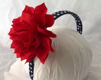 headband- red white blue headband- flower headband- july 4th headband- hair accessory- patriotic headband- stars headband- military