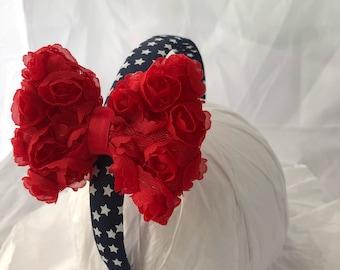 headband- red white blue headband- American flag- july 4th headband- hair accessory- patriotic headband- stars headband- military