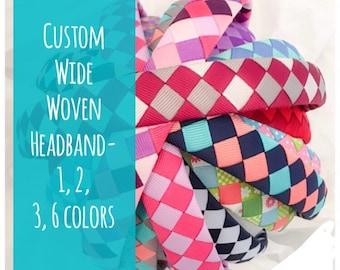 Custom headband- headband- wide headband- 6 ribbon headband- school headband- school colors- college colors- team colors