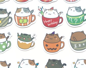 Cute Kawaii Cat Stickers for Scrapbooking and Planners