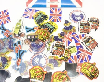 Set of 70 British England Stickers for Scrapbooking and Planners