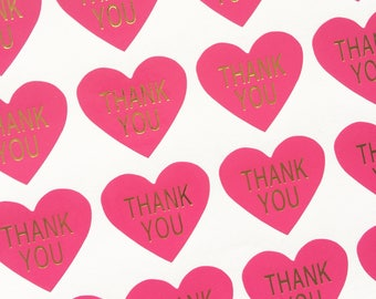 48 Heart Shaped Bright Pink and Gold 'Thank you' Stickers 3cm