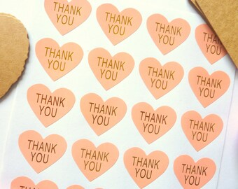 48 Heart Shaped Pink and Gold 'Thank you' Stickers 3cm