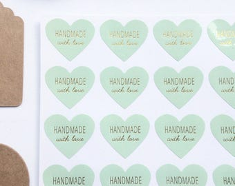 48 Heart Shaped Mint Green and Gold 'Handmade with love' Stickers 3cm