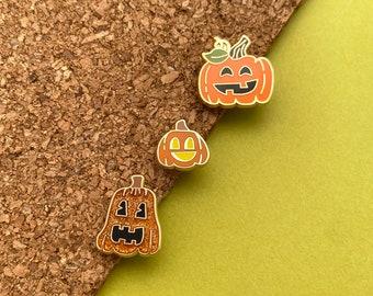 jack o lantern pumpkin patch enamel pin trio