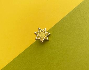 Glitter sun mini enamel pin // hard enamel pin, gold plated, sunshine, gold sun, weather pin