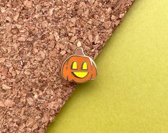 mini jack-o-lantern halloween pumpkin enamel pin // glow in the dark