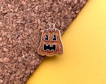 glitter jack-o-lantern halloween pumpkin enamel pin