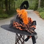 Black Velour Curly-Que Witch Hat