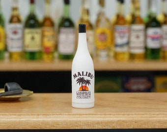 Dollhouse Miniature Plastic Malibu Rum Bottle