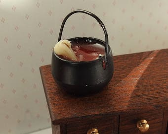 Dolls House Miniature Cauldron with Bones