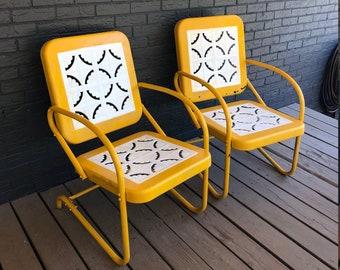 Vintage Metal Lawn Chairs >> Metal Patio Furniture Etsy
