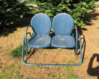Sensational Vintage Set Of 2 Metal Motel Arm Chairs Mid Century Lawn Etsy Bralicious Painted Fabric Chair Ideas Braliciousco