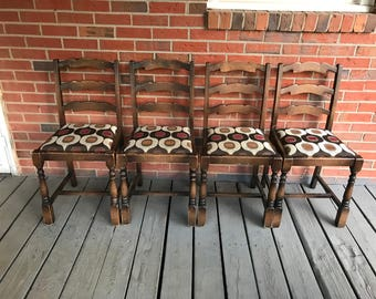 Vintage Set Of 4 Wood Chairs Upholstered Seats Turned Legs Primitive Rustic  Country Decor
