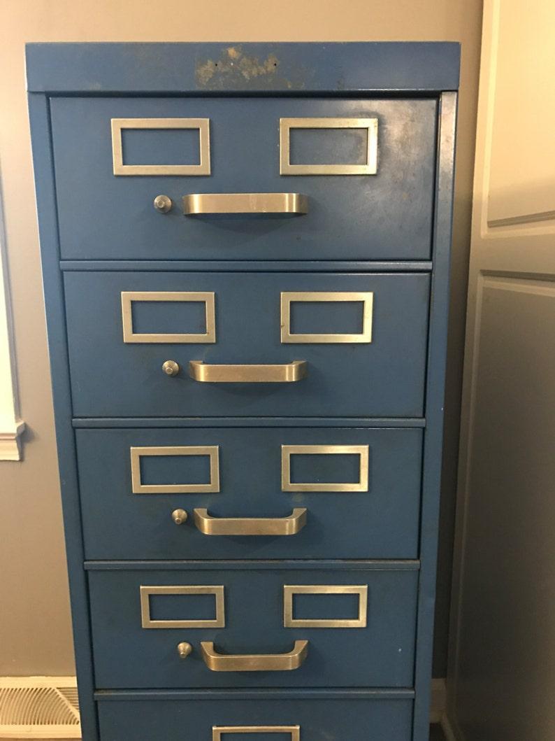 Vintage Tall Steel Filing Cabinet 6 Drawers Blue Metal Industrial