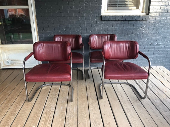 Remarkable Vintage Set Of 4 Maroon Leather Chrome Cantilever Lounge Chairs Mid Century Modern Pdpeps Interior Chair Design Pdpepsorg