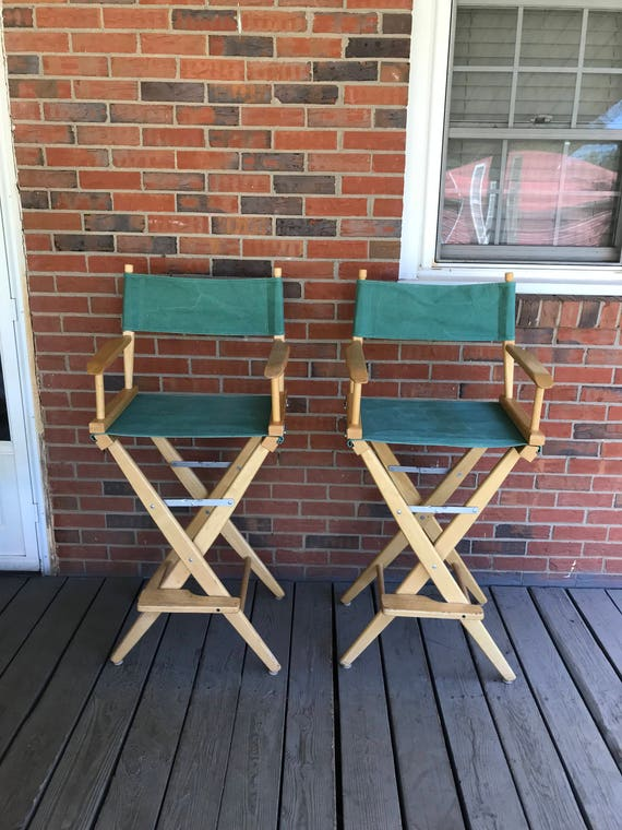 Awe Inspiring Vintage Pair Of Two Tall Director Chairs Bar Stools Wood Frame Green Canvas Folding Chairs Squirreltailoven Fun Painted Chair Ideas Images Squirreltailovenorg