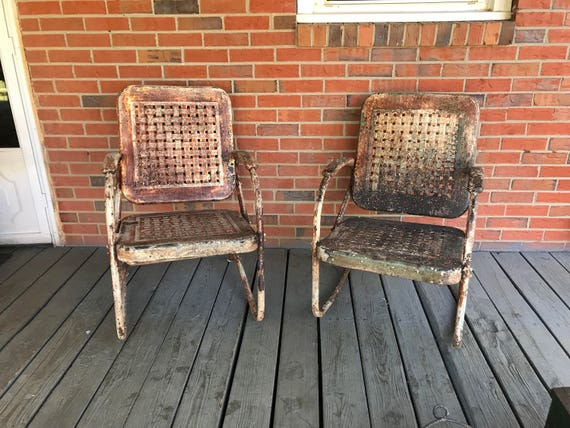 Vintage Set Of Metal Chair And Rocking Chair Motel Patio | Etsy