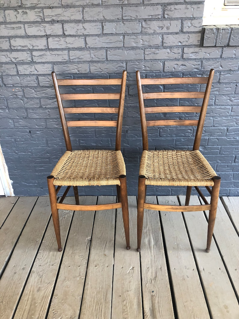 One Chair Left Mid Century Danish Wooden Chairs Rope Woven Etsy