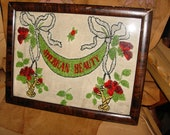 Vintage Native American Framed Beaded Art American Beauty mulberry c 1920 Chippewa