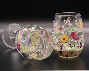Cute Birds Flower Hand Painted Wine Glass Stemless or Stemmed on Tree Branch
