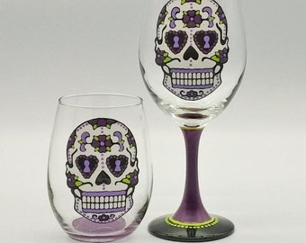 30f9f37a4095 Purple Sugar Skull Hand Painted Wine Glass in Stemmed or Stemless Dia de  los Muertos Day of the Dead
