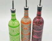 Soap Olive Oil Bottle Hand Painted with a Boho Bohemian Theme in Various Color Choices