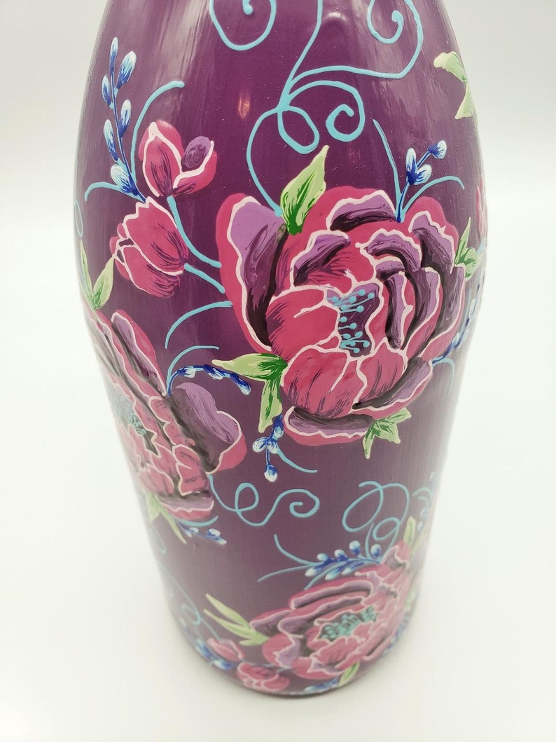 Peony Rose Bottle Hand Painted in Pink and Purple with Crystal Topper for Olive Oil  Soap
