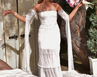 Off The Shoulder Lace Long Maxi Gypsy Rustic Bohemian Chic Woodland Beach Vintage Fantasy Steampunk Romantic Weddingdress