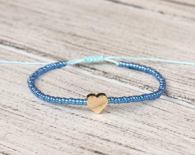 Australian Made Friendship Bracelet Gold Plated Blue Beaded Bracelet Valentines day gift for her Adjustable Bracelet
