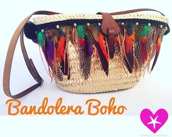 BandoleraPlumas Boho with black threads