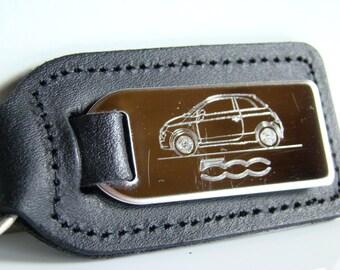 Fiat 500 Keyring, Engraved FIAT 500 Car on Leather Keyring, Fiat 500 Keychain, Gift Idea Christmas Gift Idea