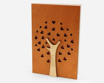 5th Wedding Anniversary Card Wood Gift For 5 Year Present Him Men Husband Or Her Women Wife Wooden Cards Gifts Family Tree