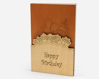 Birthday Greeting Cards Gift Wood Card Gifts For Husband Handmade Funny Wooden