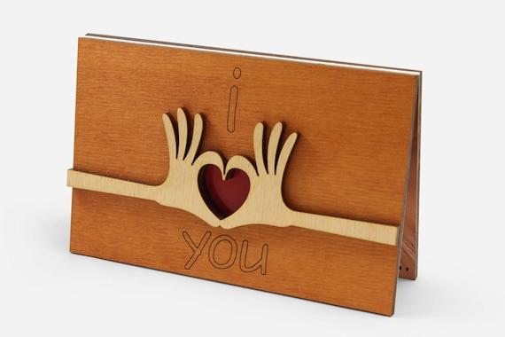 I Love You Card Cute Anniversary Wooden Cards Original