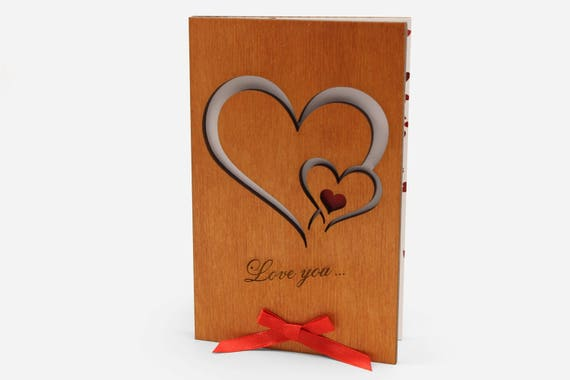 Love Cards Wood Anniversary Card Valentine Day Gift 5 Year Etsy