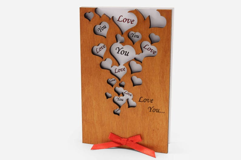 Valentines Day Wife Her Women Mom Girlfriend and Parents Love You Anniversary Wood Cards Gifts Presents for Husband Him Men Dad Boyfriend