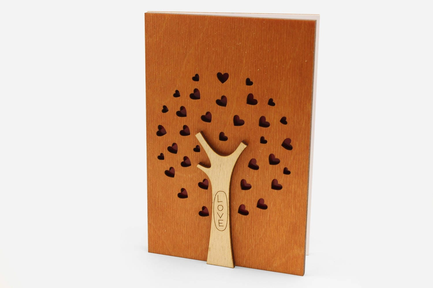 5th Wedding Anniversary Card Wood Gift For 5 Year Anniversary Etsy
