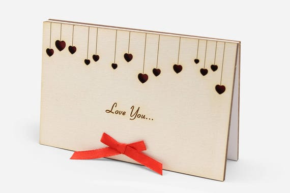 Love Birthday Cards Romantic Valentine Wood Card Cute Woode