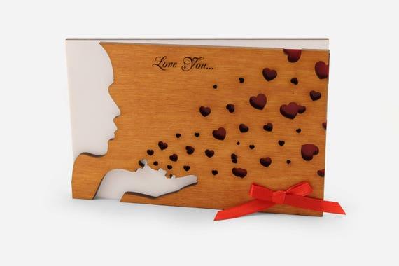 Love Cards For Him Boyfriend Husband Men Wood Greeting Card Etsy