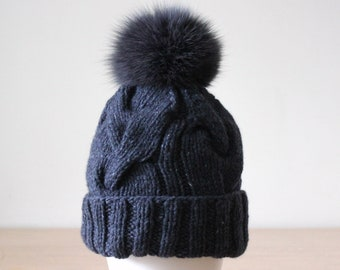 c27fa27326b Cable knit slouch cashmere wool beanie hat with detachable pom