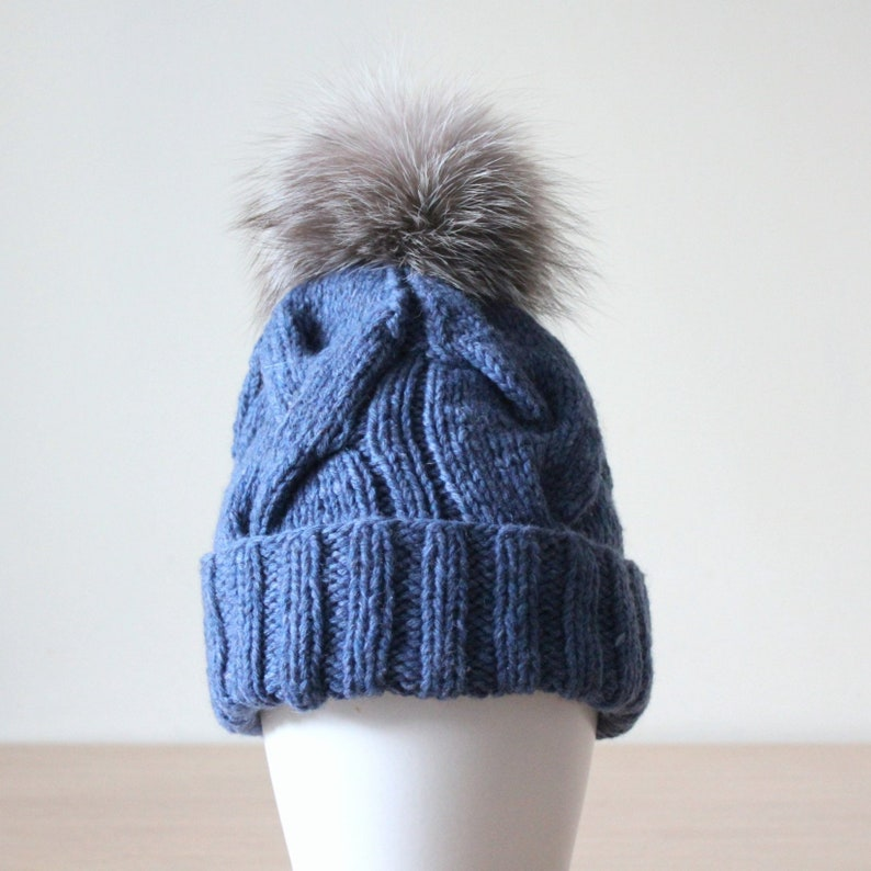 5a386557ac9 Denim Blue cashmere and wool cable knit hat with fox fur pom