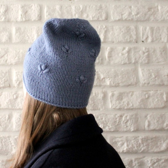 28efd26eb3c Blue cashmere and silk knitted slouchy beanie with Swarovski