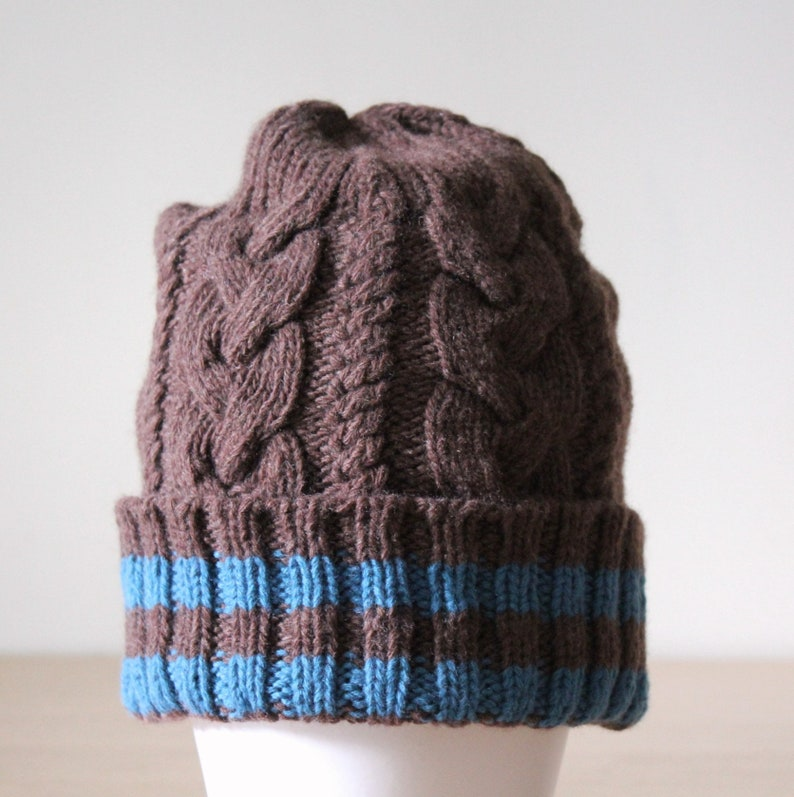 2d50698d443 Mens brown striped merino wool cable knit beanie hat with