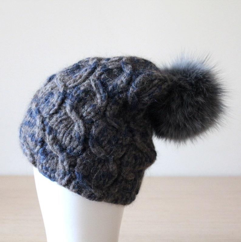 af250c58f7e Câble de pom pom bonnet de laine chapeau chapeau en laine