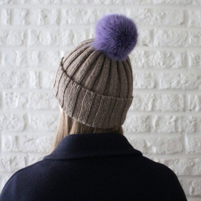 a1726643700 Rib knit pom pom beanie hat Fur pom pom hat Brown hat