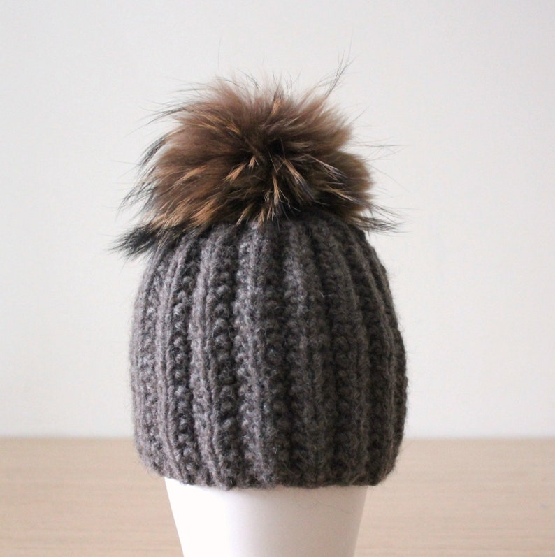 425f213816a Brown ribbed alpaca beanie hat with raccoon fur pom pom