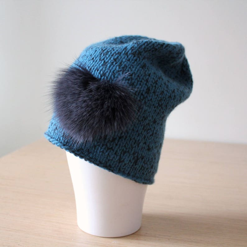 9d406ce4d9c Slouchy cashmere merino beanie with fox fur in Blue Statement